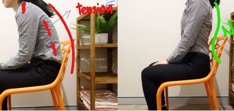 How can you improve your posture while sitting?